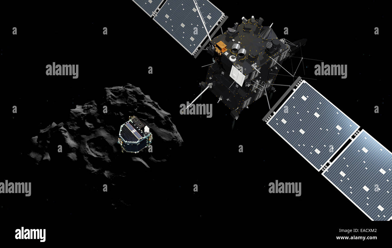 HANDOUT- An artist impression made available on 12 November 2014 by ESA (European Space Agency) shows Philae separating - Stock Image