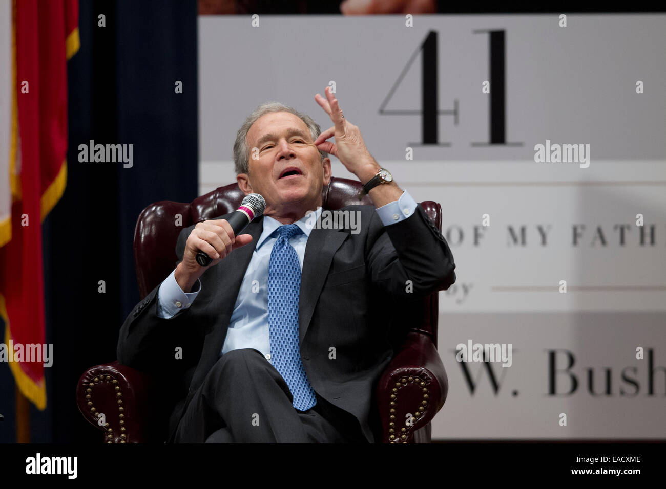 College Station, Texas, USA. 11th November, 2014. Former U.S. President George W. Bush talks about his new book, - Stock Image