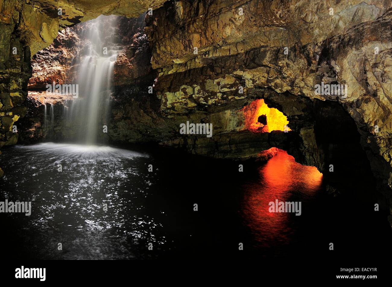 The underground waterfall of the Allt Smoo stream in Smoo Cave, Durness, Caithness, Sutherland and Easter Ross, - Stock Image