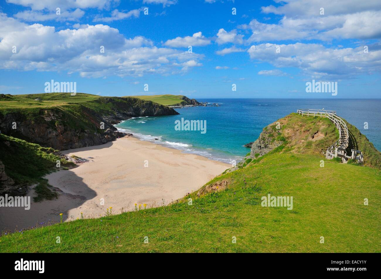 Viewpoint overlooking the beach of Sango Bay, Durness, Caithness, Sutherland and Easter Ross, Scotland, United Kingdom - Stock Image