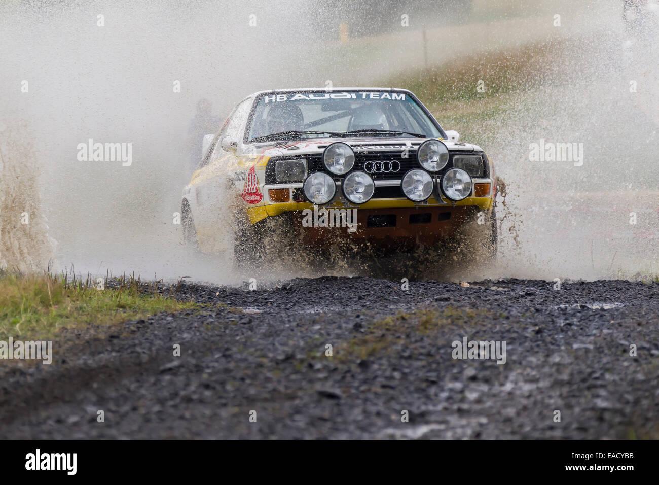 Oldtimer Eifel Rallye Festival in 2014, WP 1 Bosch Super Stage, crossing a water hole, Daun, Vulkaneifel, Eifel - Stock Image
