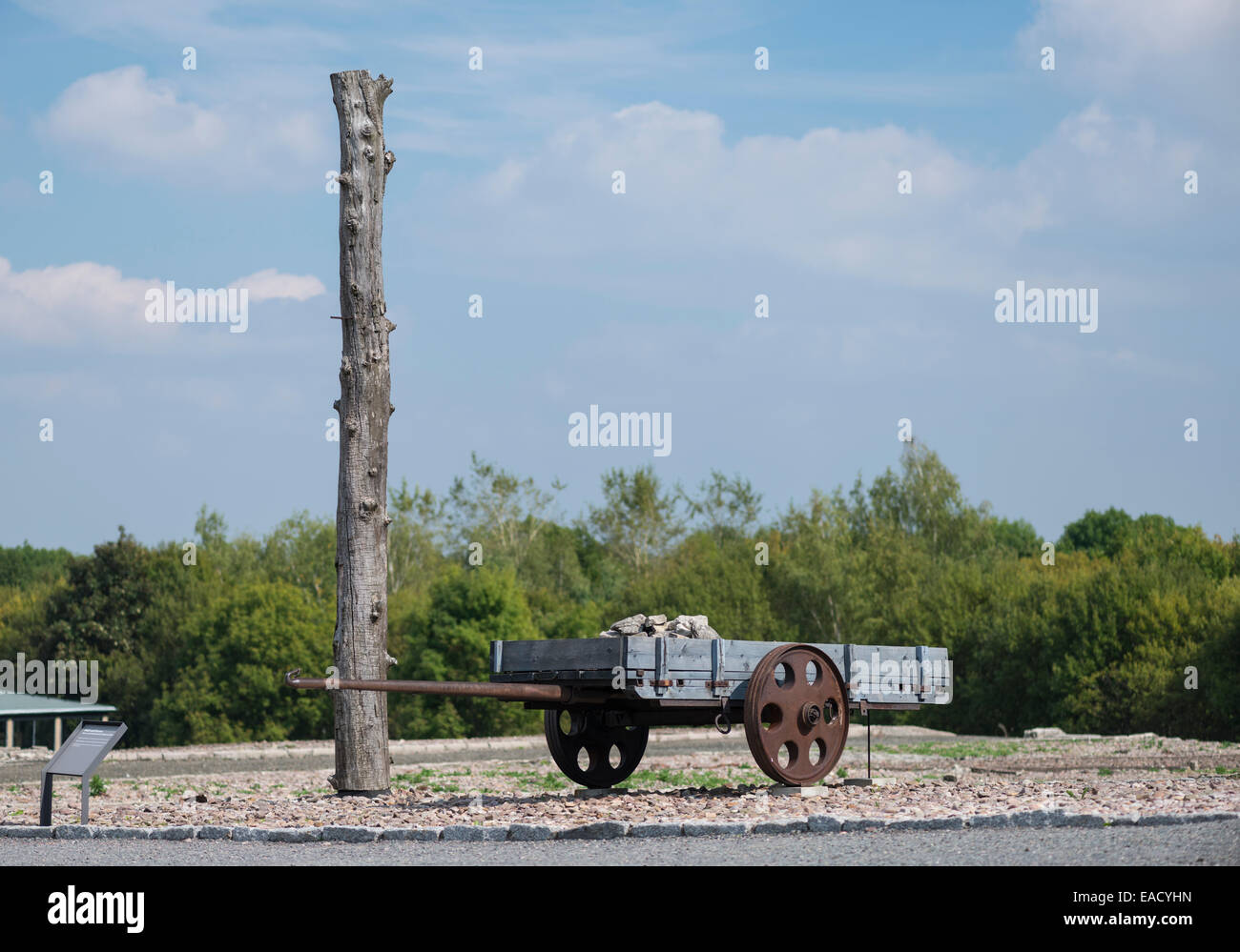 Pile and carts, tools and instruments of labor, Buchenwald concentration camp, Weimar, Thuringia, Germany - Stock Image