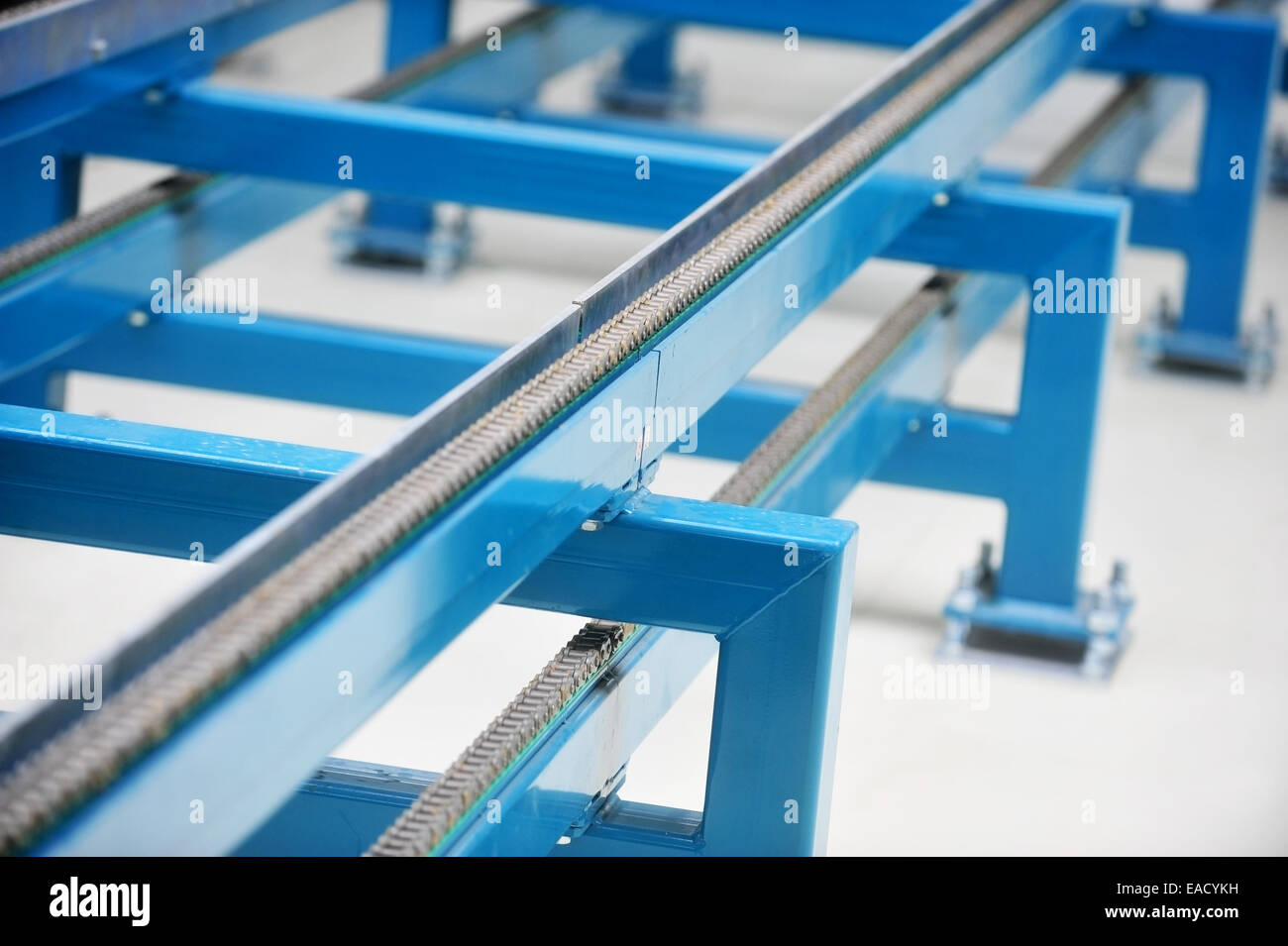 Industrial detail with a band conveyor chain Stock Photo