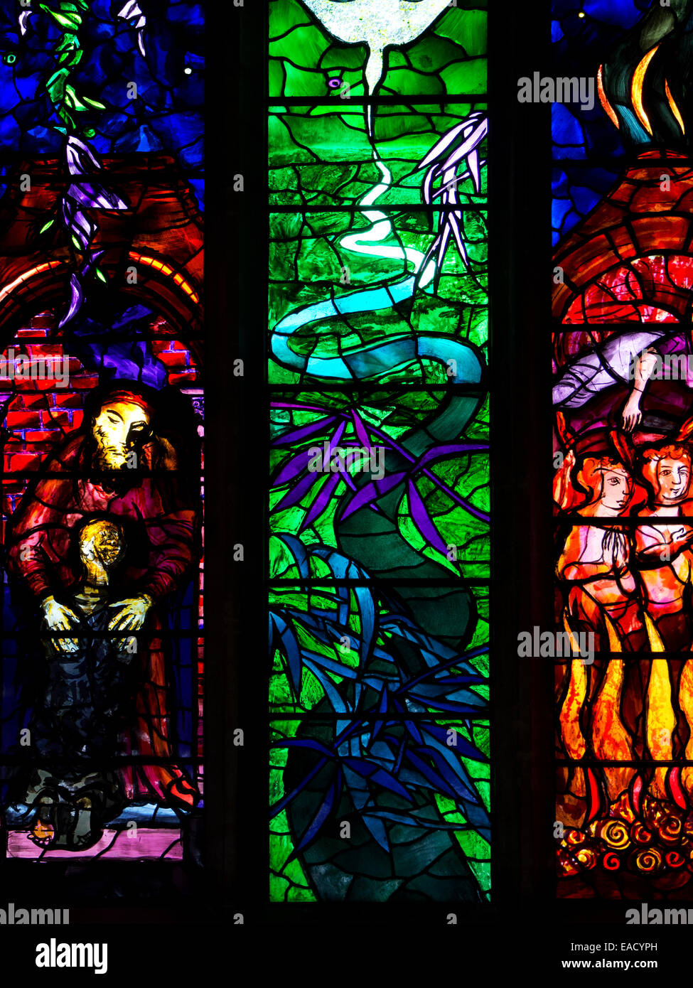 Benjamin Britten Memorial Window at St Peter and St Pauls Church Aldeburgh Suffolk England - Stock Image