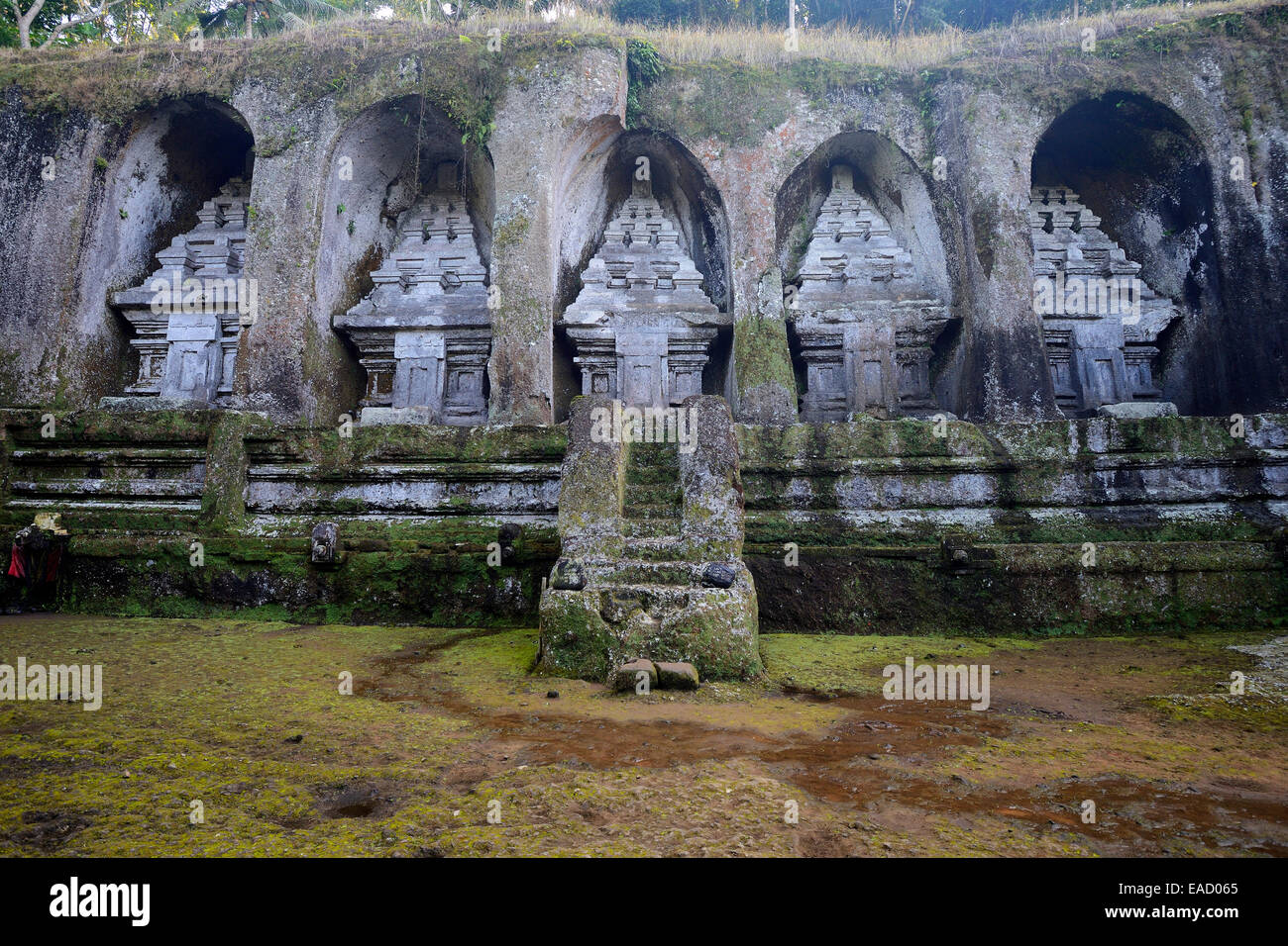 Rock shrines in the Gunung Kawi source temple, Bali, Indonesia - Stock Image