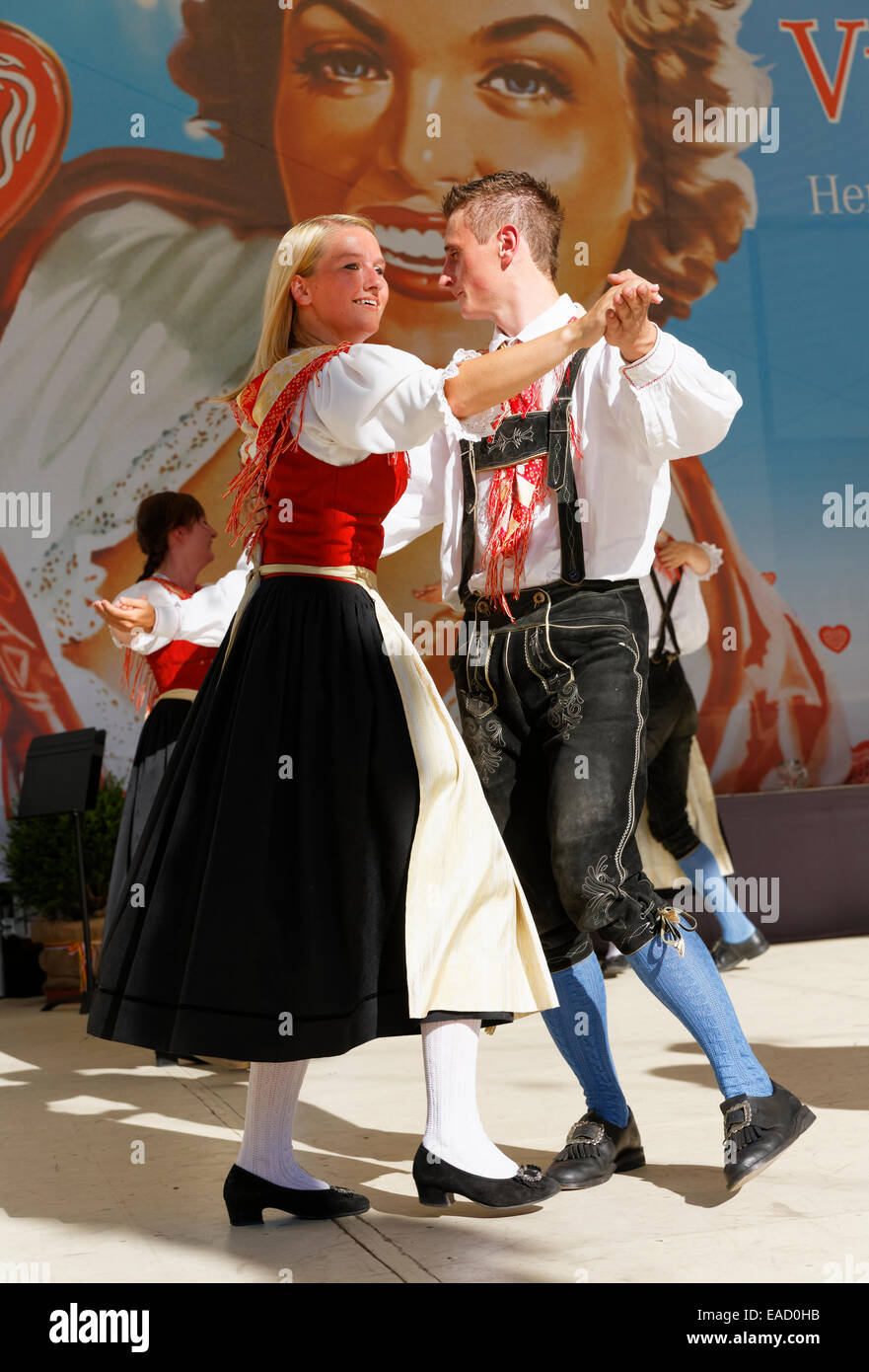 Fuernitz Faaker See folk dance group, Villacher Kirchtag traditional folk festival, Villach, Carinthia, Austria - Stock Image