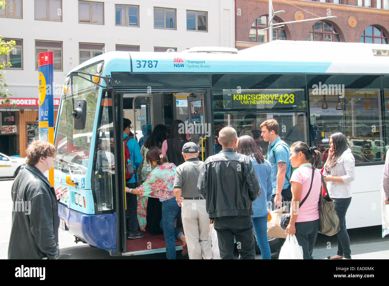 passengers awaiting their bus arrival on broadway,chippendale,sydney,australia - Stock Image