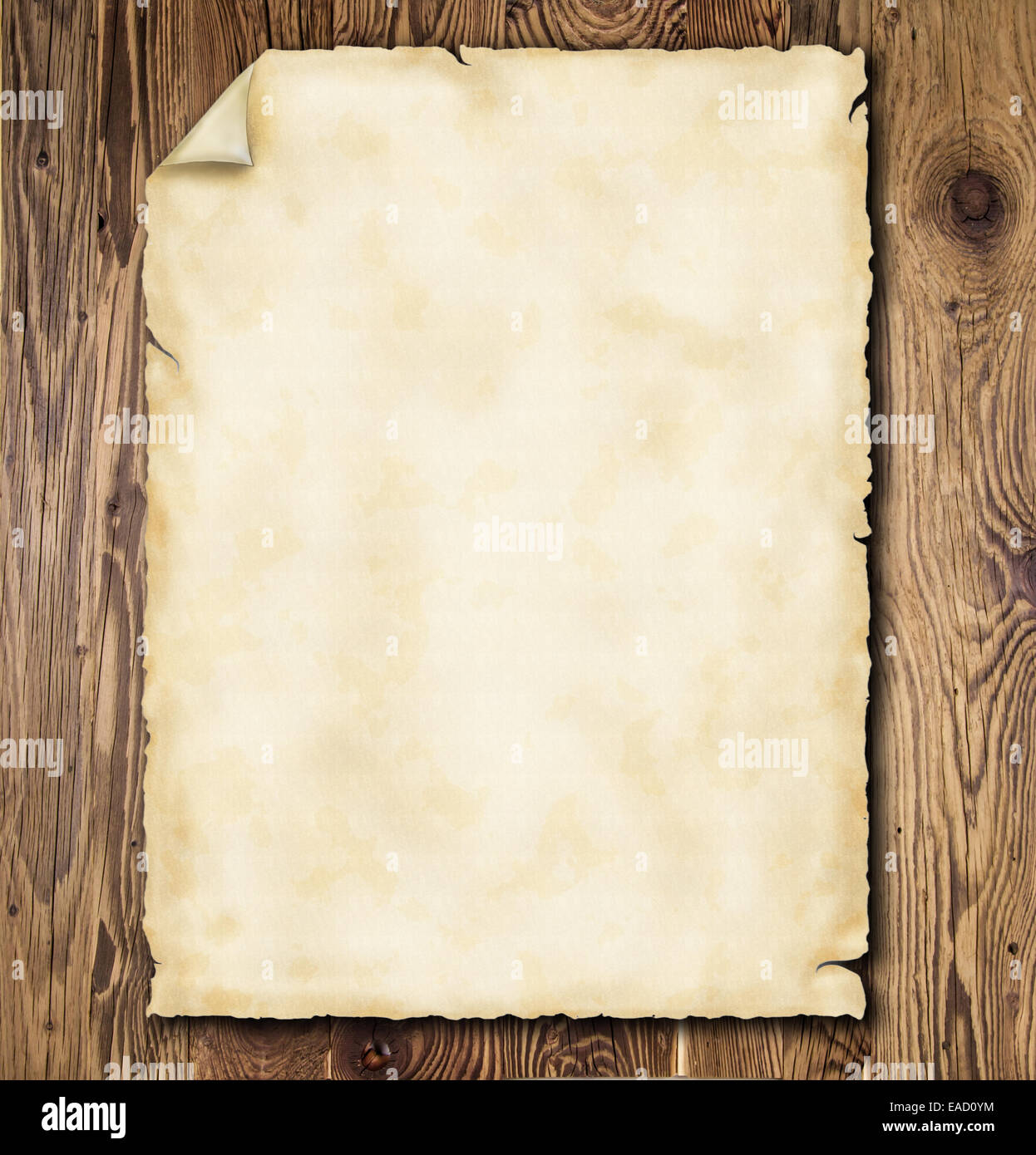 Old grunge paper on wooden planks - Stock Image