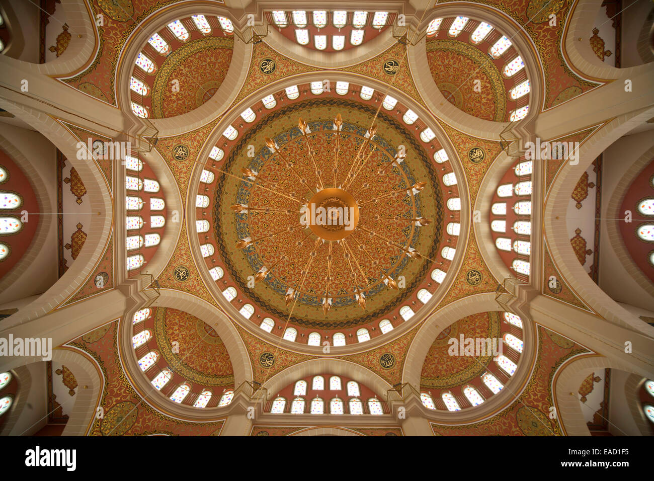 Ceiling of the Nizamiye Turkish Masjid Mosque in Johannesburg, Gauteng, South Africa - Stock Image