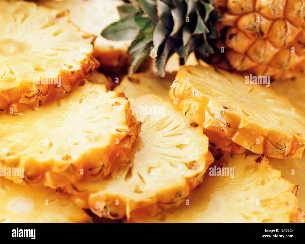 Pineapple, Ananas comosus, Yellow subject. - Stock Image