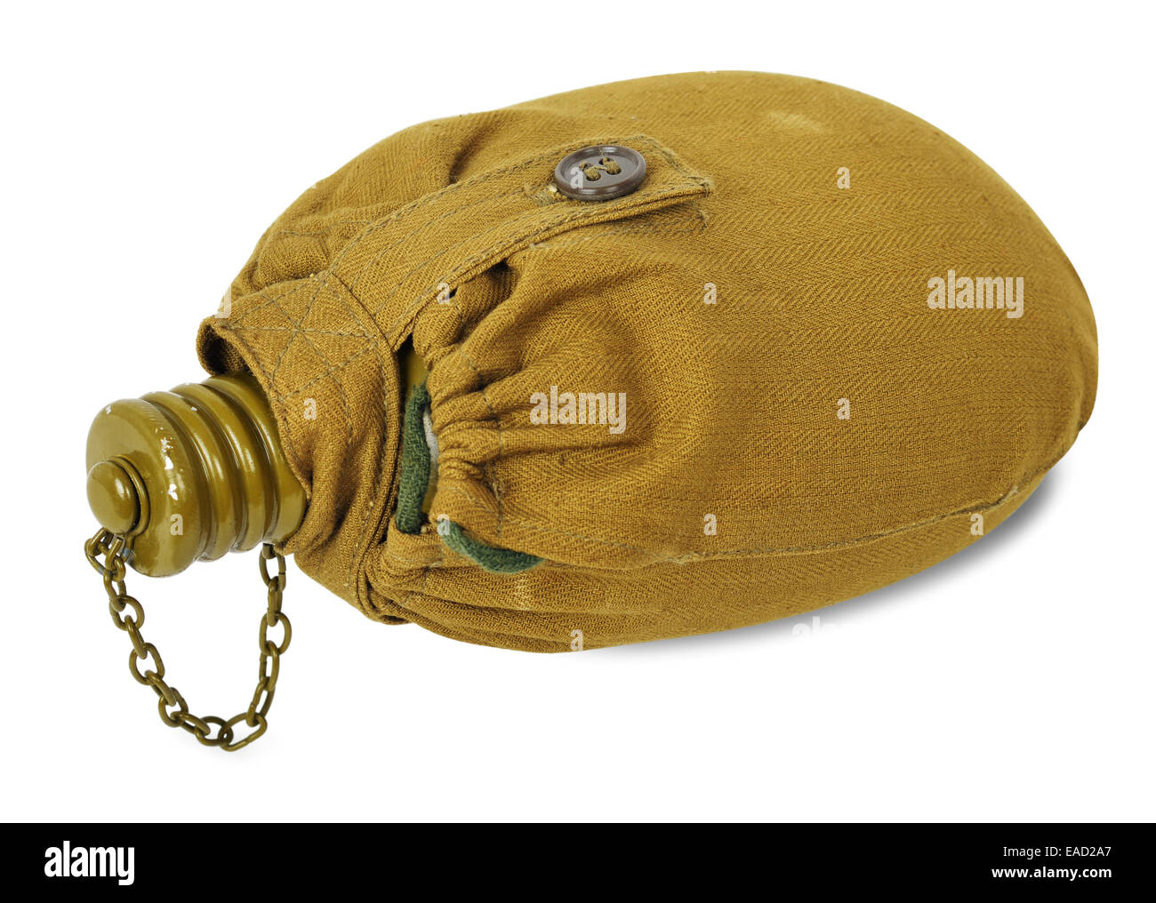 Canteen (bottle) in a fabric cover of the sheet on a white background - Stock Image