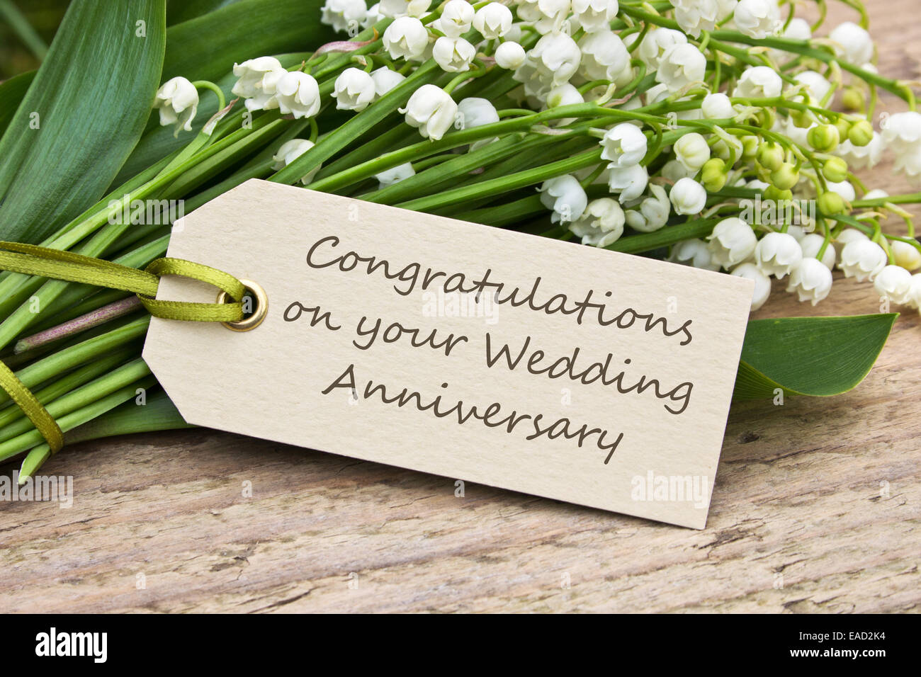 English wedding anniversary card with lily of the valley stock