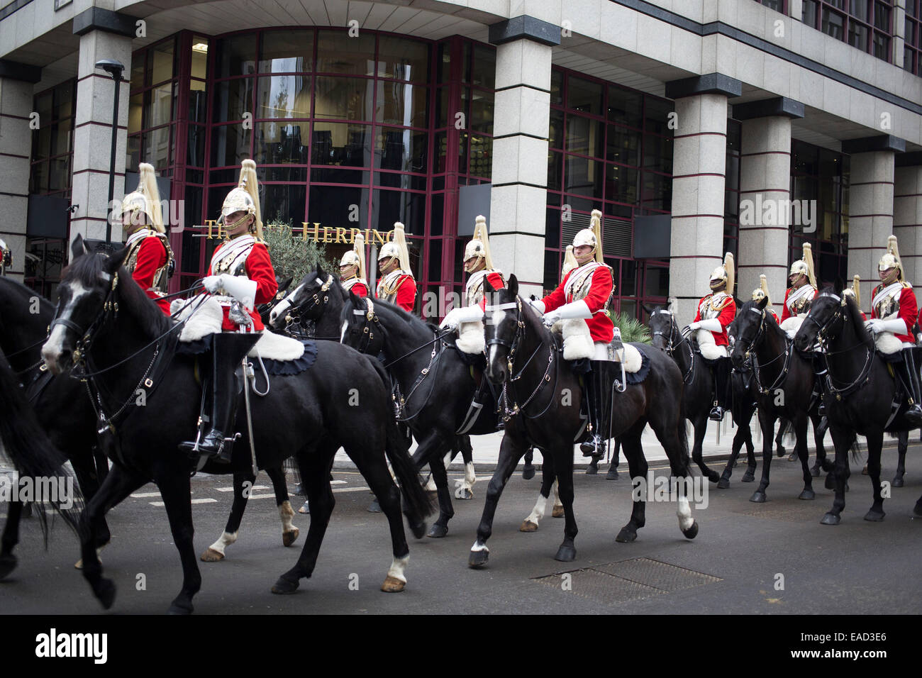 Life Guards on horseback after The Lord Mayor's Show, one of the longest-established annual events, in the City - Stock Image
