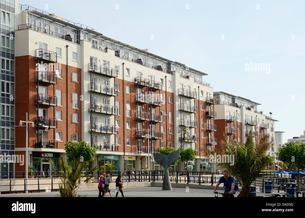 Charming Modern Apartment Buildings Of Steel, Brick And Glass At Gunwharf Quays  Shopping Mall In Portsmouth. Hampshire. England. Shops Be