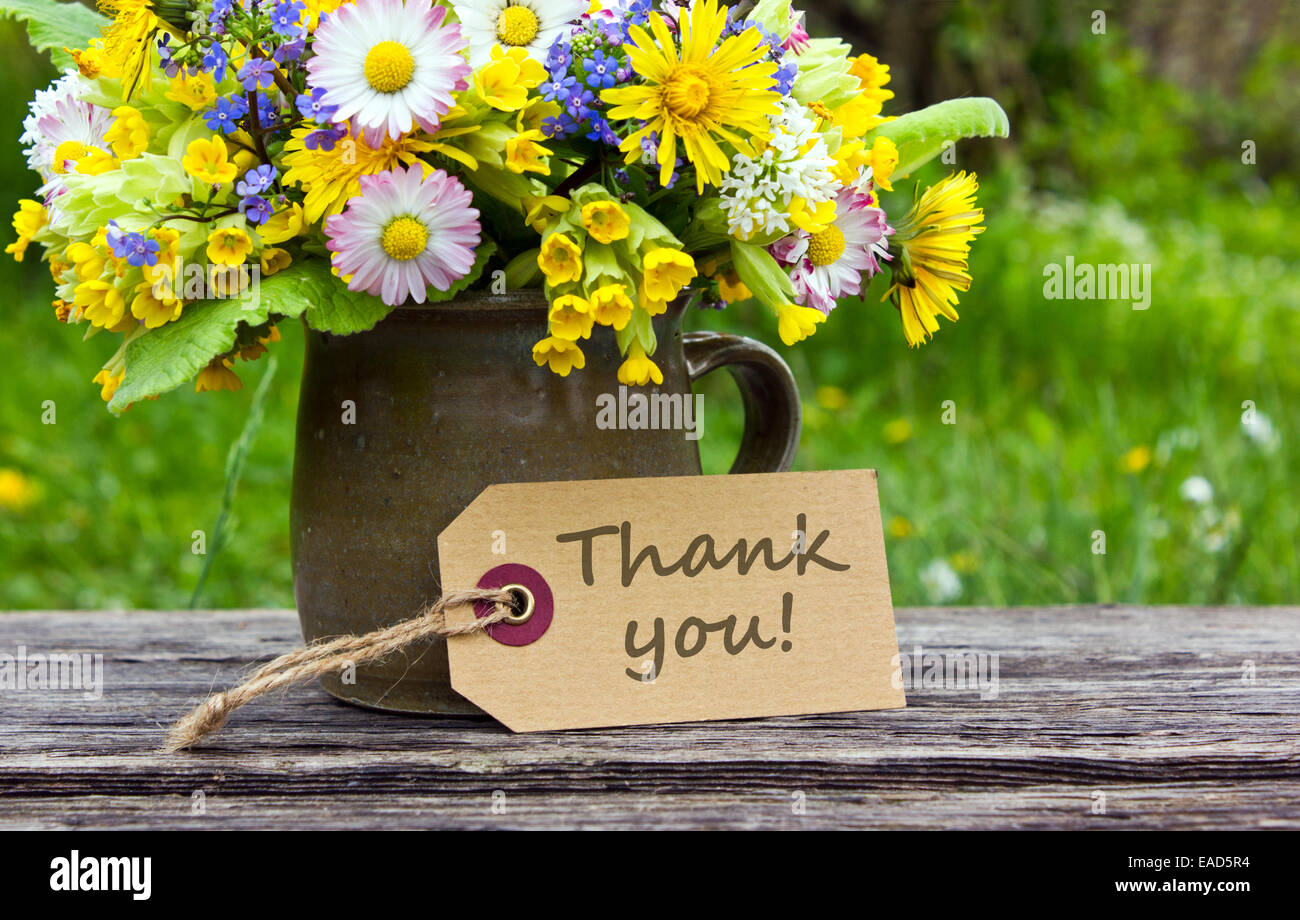 English Thank You Card With Spring Flowers Stock Photo 75277976 Alamy