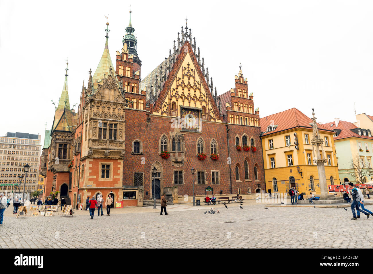 WROCLAW, POLAND - OCTOBER24, 2014: old gothic city hall of Wroclaw, Poland - Stock Image