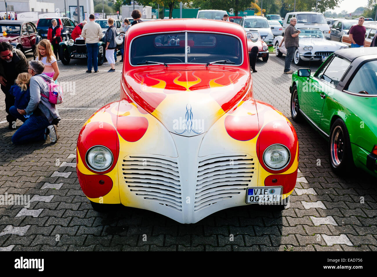 Old timer car during show in Monchengladbach Germany - Stock Image