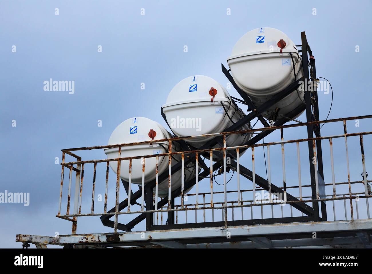 Zodiac Liferaft deployment slide on car ferry Stock Photo