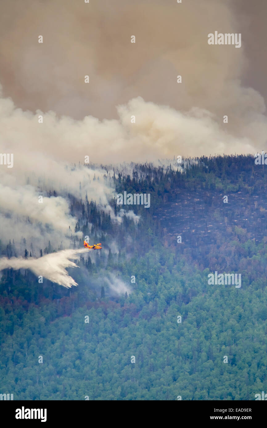 Smoke,Plane,Firefighting,Forest Fire - Stock Image