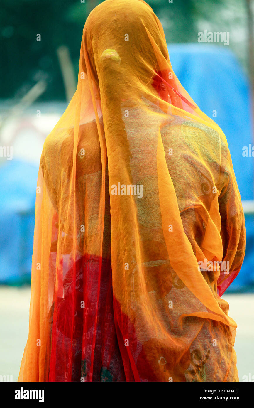 adult, adults, asia, asian, back, bare, bright, brightly, care, caring, color, coming down savitri temple, companion, - Stock Image