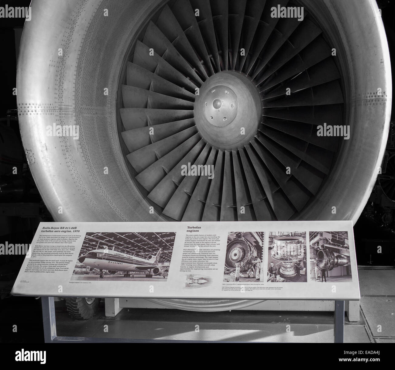 Rolls Royce engine, the RB 211-22B turbofan aero engine (1970), on display at the Science museum, London. - Stock Image