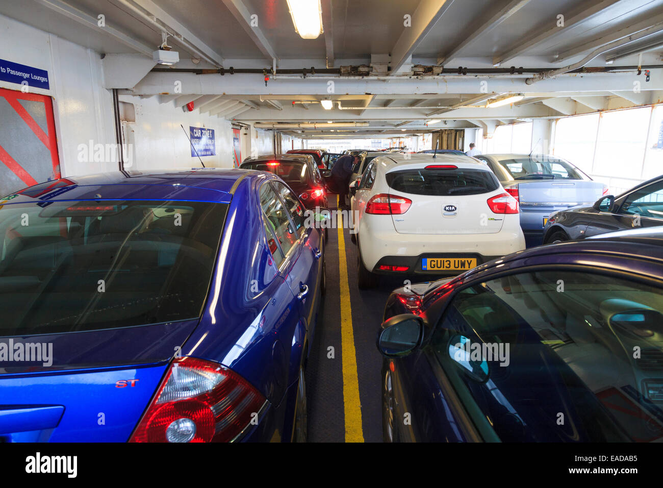 Restricted height car deck on ferry Stock Photo