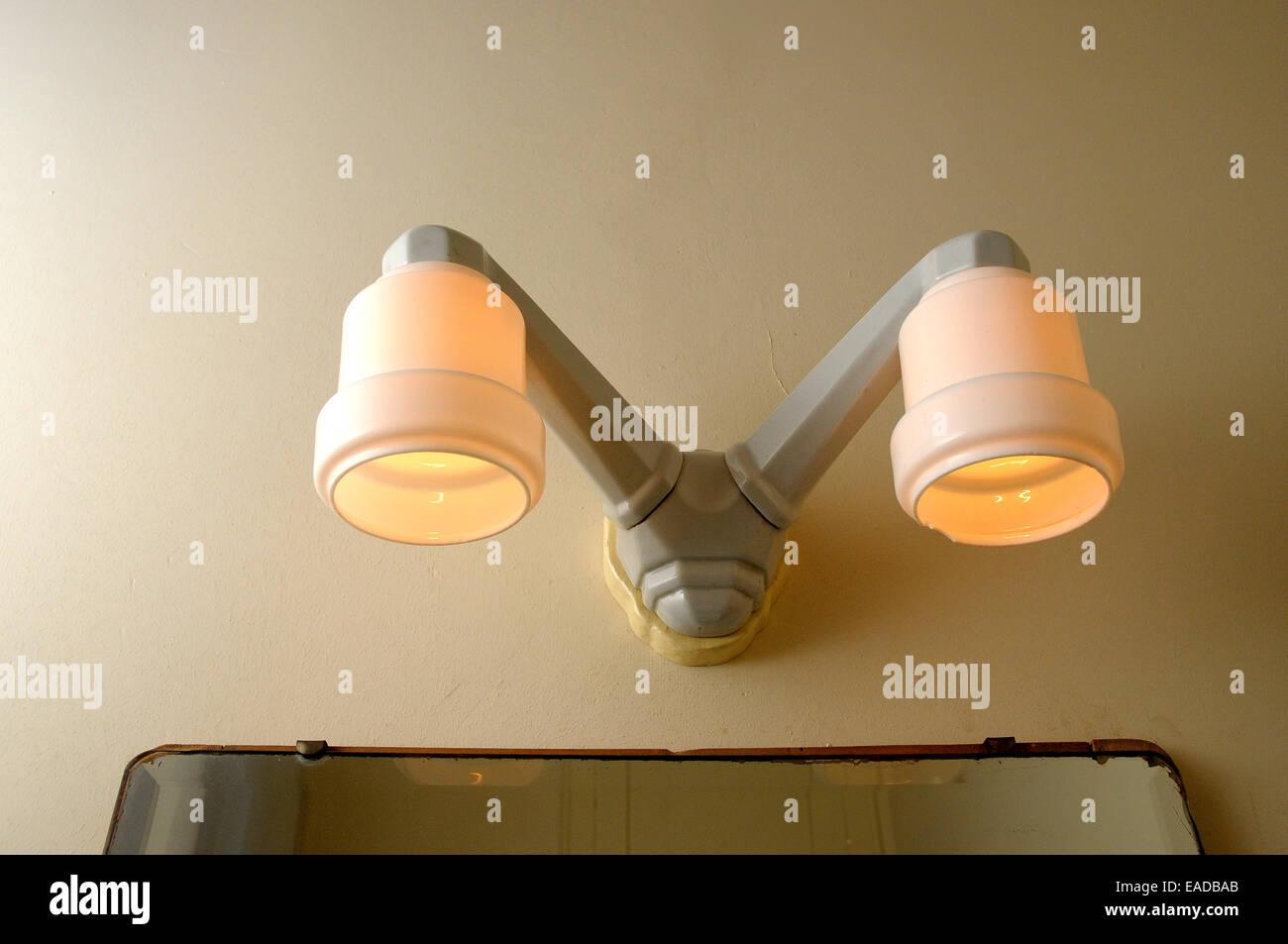 lamp, 50', wc lamp, antic, light, - Stock Image