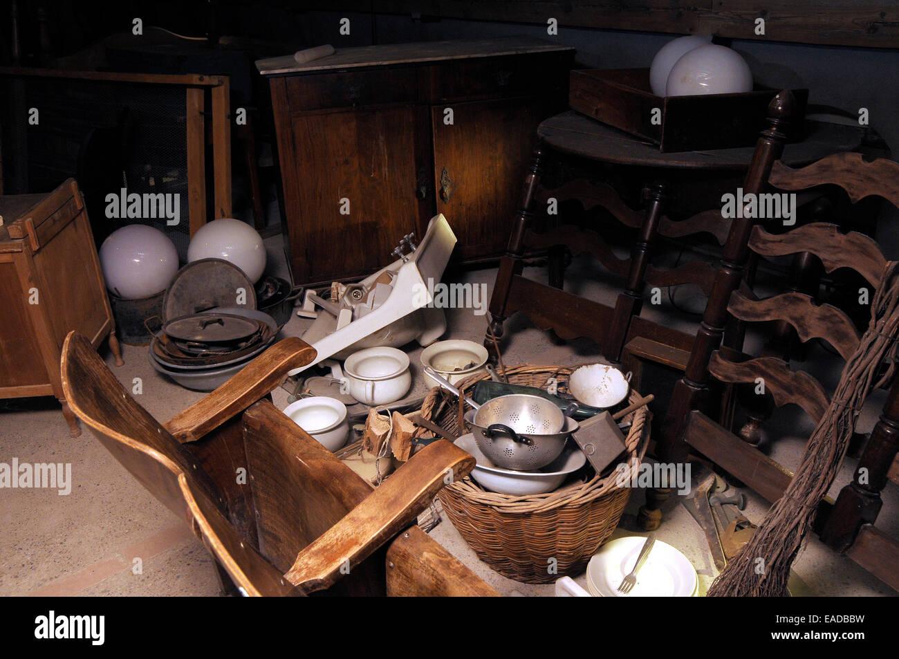 garret, old stuff,attic, old things,antic, mansard - Stock Image