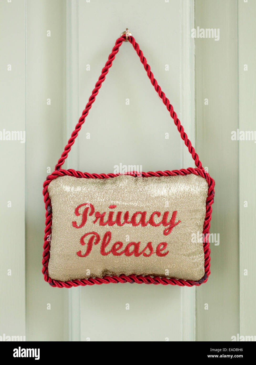 privacy please sign on hotel door - Stock Image