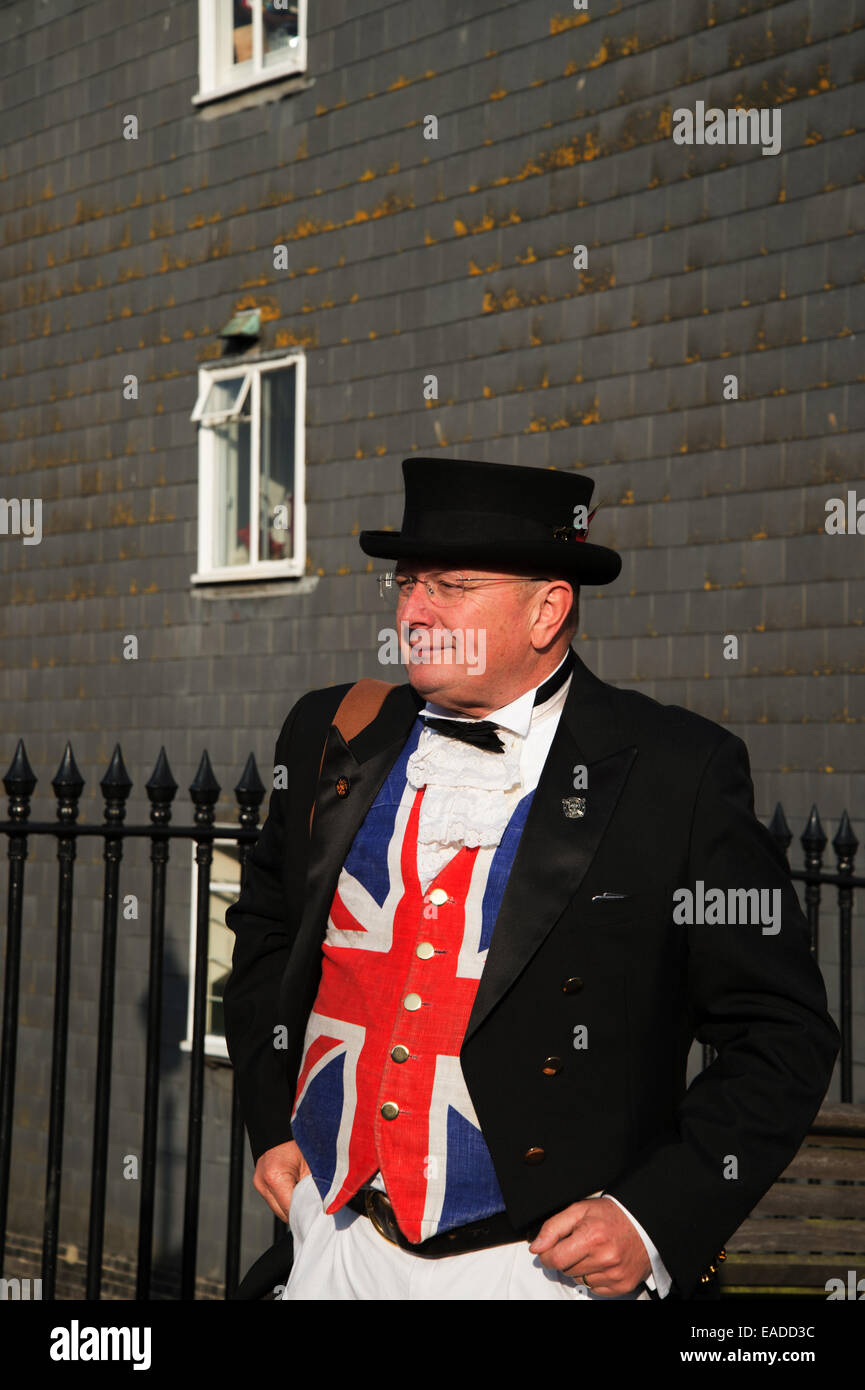 Bonfire Night Lewes, Sussex, 2014. A middle aged man wears a Union Jack waistcoat - Stock Image