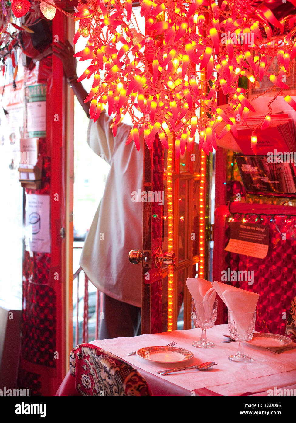 Interior of Indian Restaurant - Stock Image
