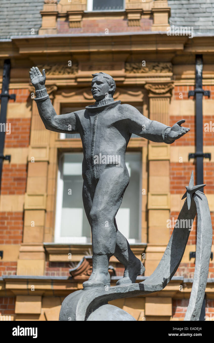 The zinc Statue of Yuri Gagarin in Greenwich, London, depicts the cosmonaut wearing a spacesuit and standing on - Stock Image