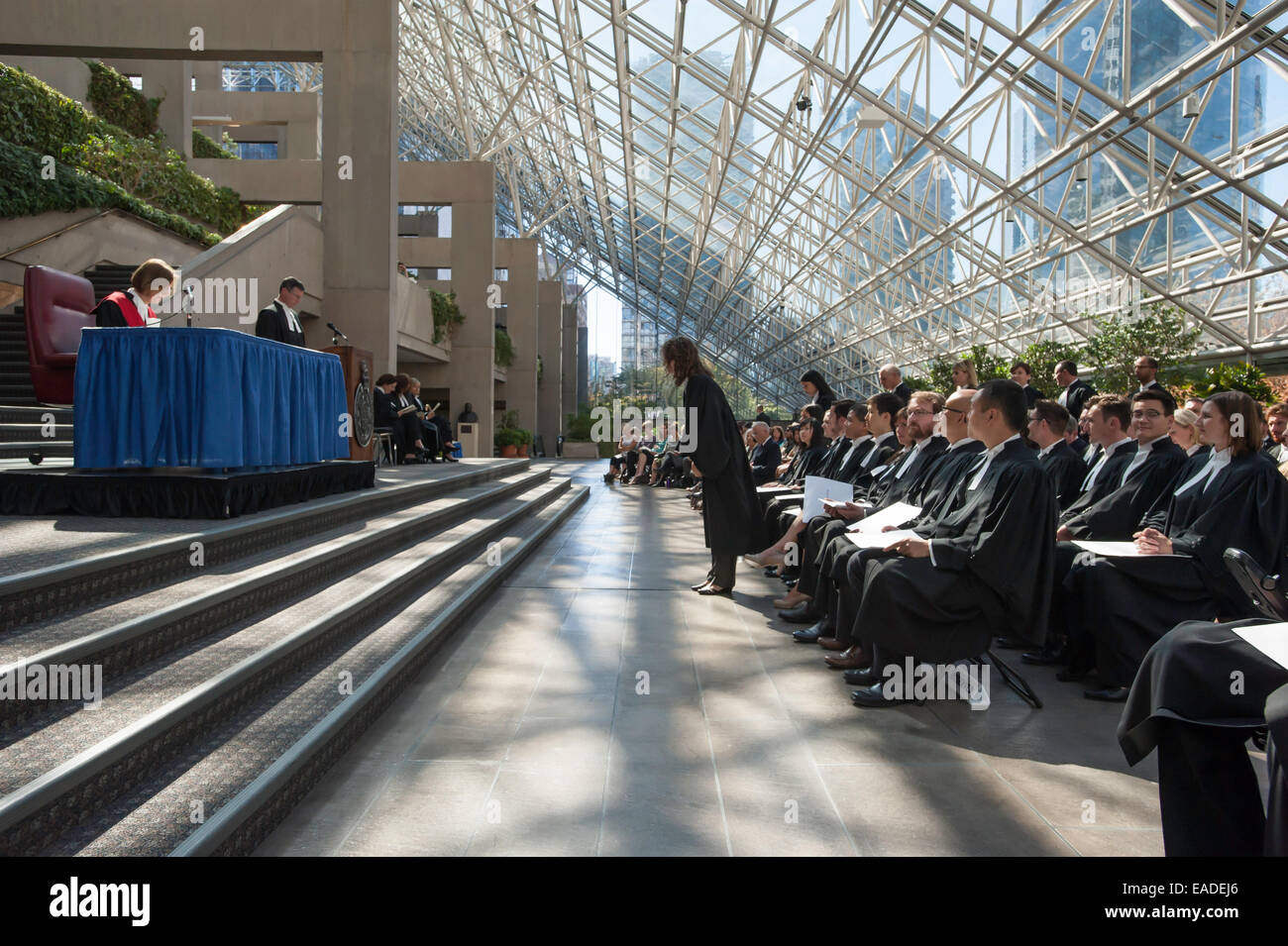Lawyers wait to approach a Supreme Court Judge at Call to The Bar Ceremony held In The Great Hall of the Vancouver - Stock Image