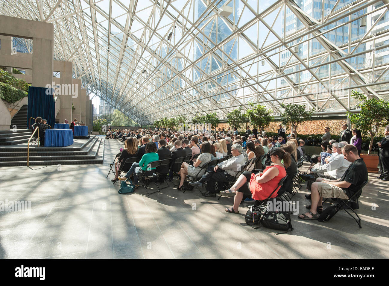 The Great Hall at the Vancouver Law Courts where a Call to the Bar is being held. - Stock Image