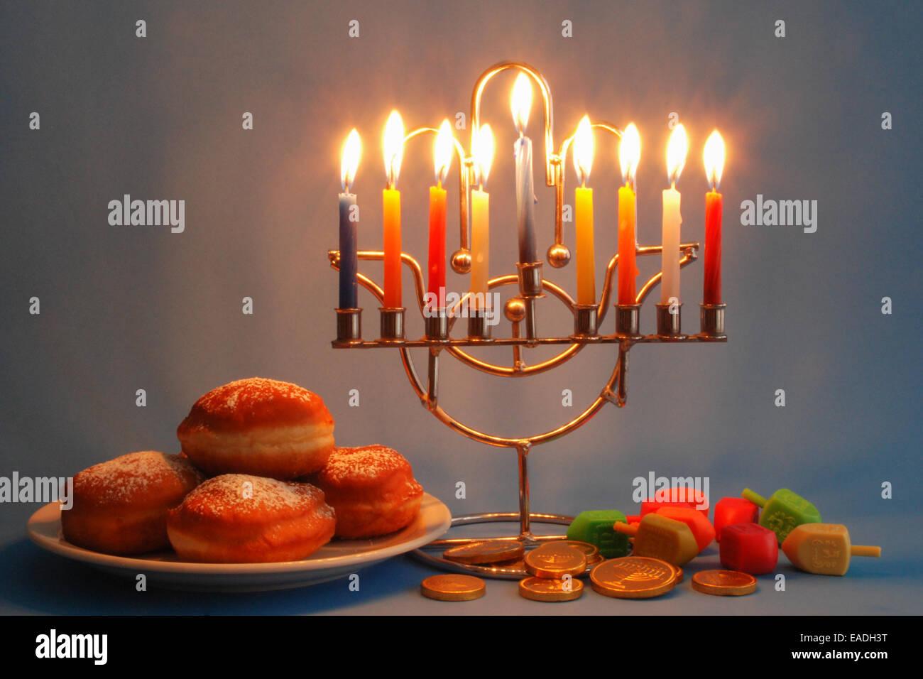 Symbols Of Hanukkah Holyday Menorah With Candles Donuts Dreidels