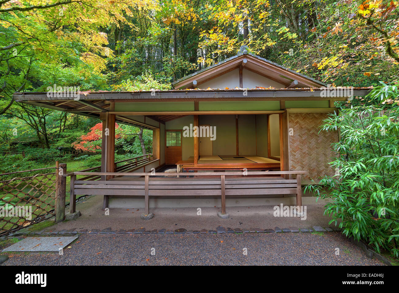 Tea House at Portland Japanese Garden in Autumn - Stock Image