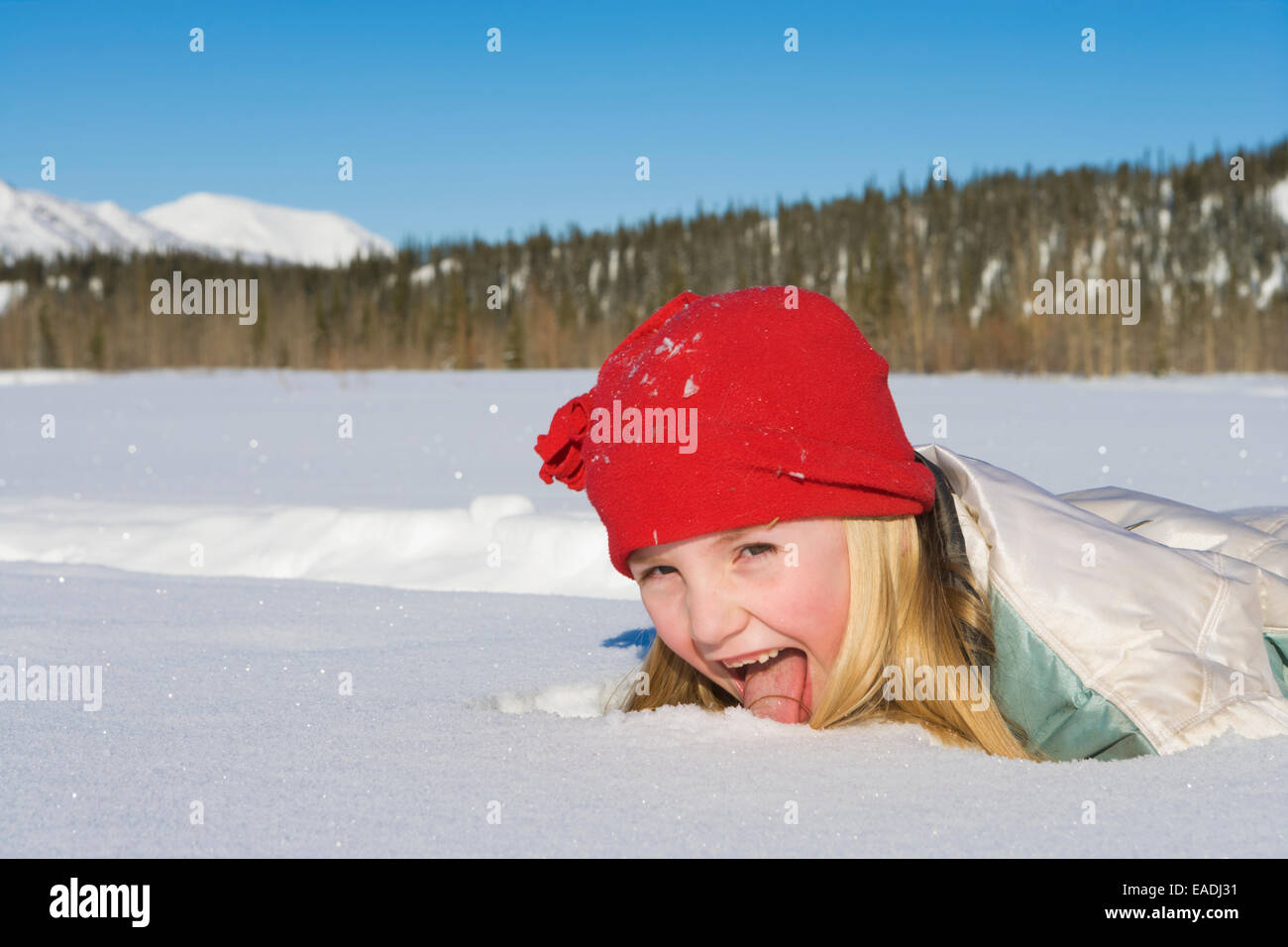 Young girl plays in the snow at Wiseman, Brooks Range, Arctic Alaska - Stock Image