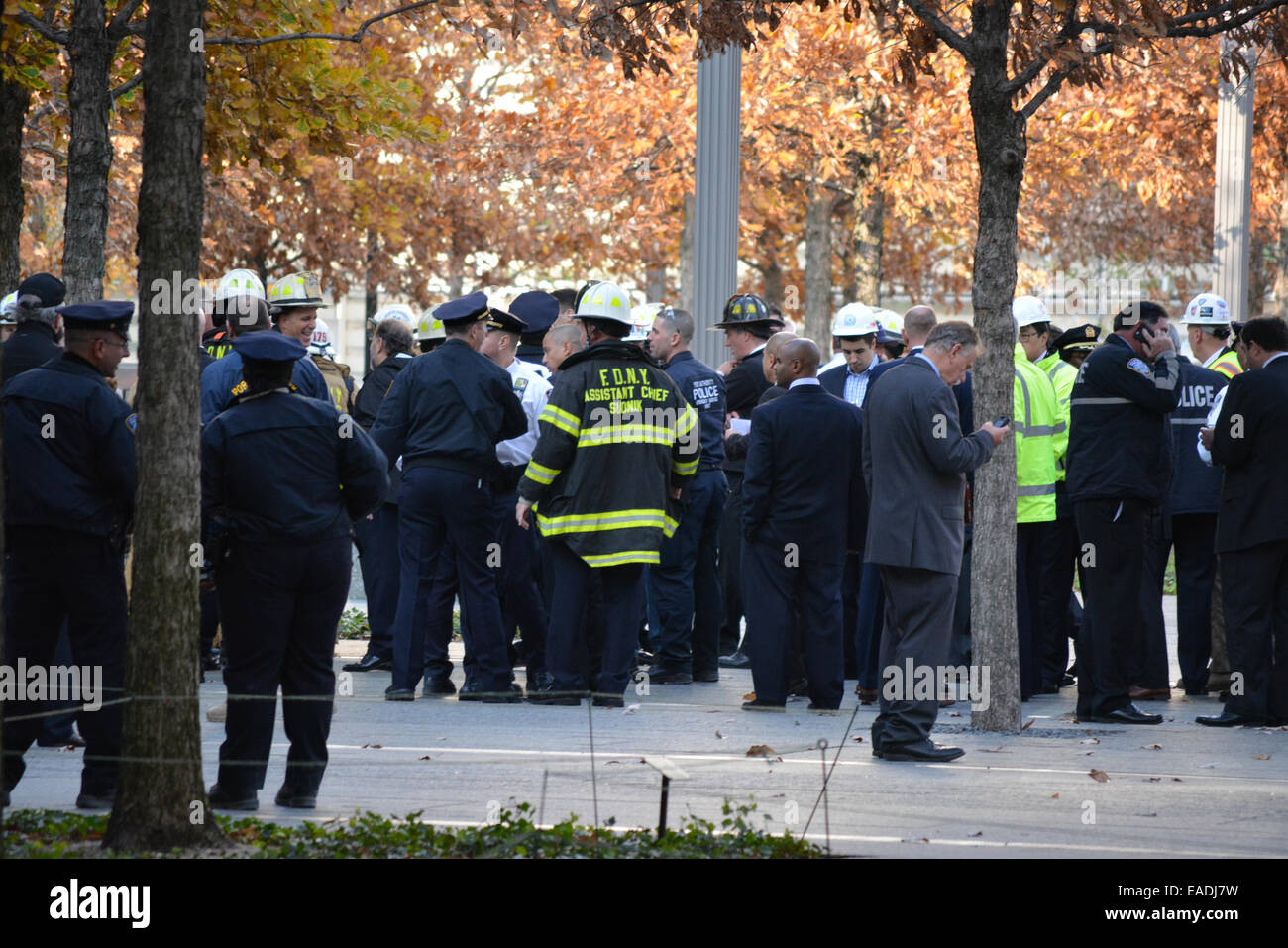 Emergency response workers gathered at World Trade Center Tower One following a scaffolding collapse at the building. - Stock Image