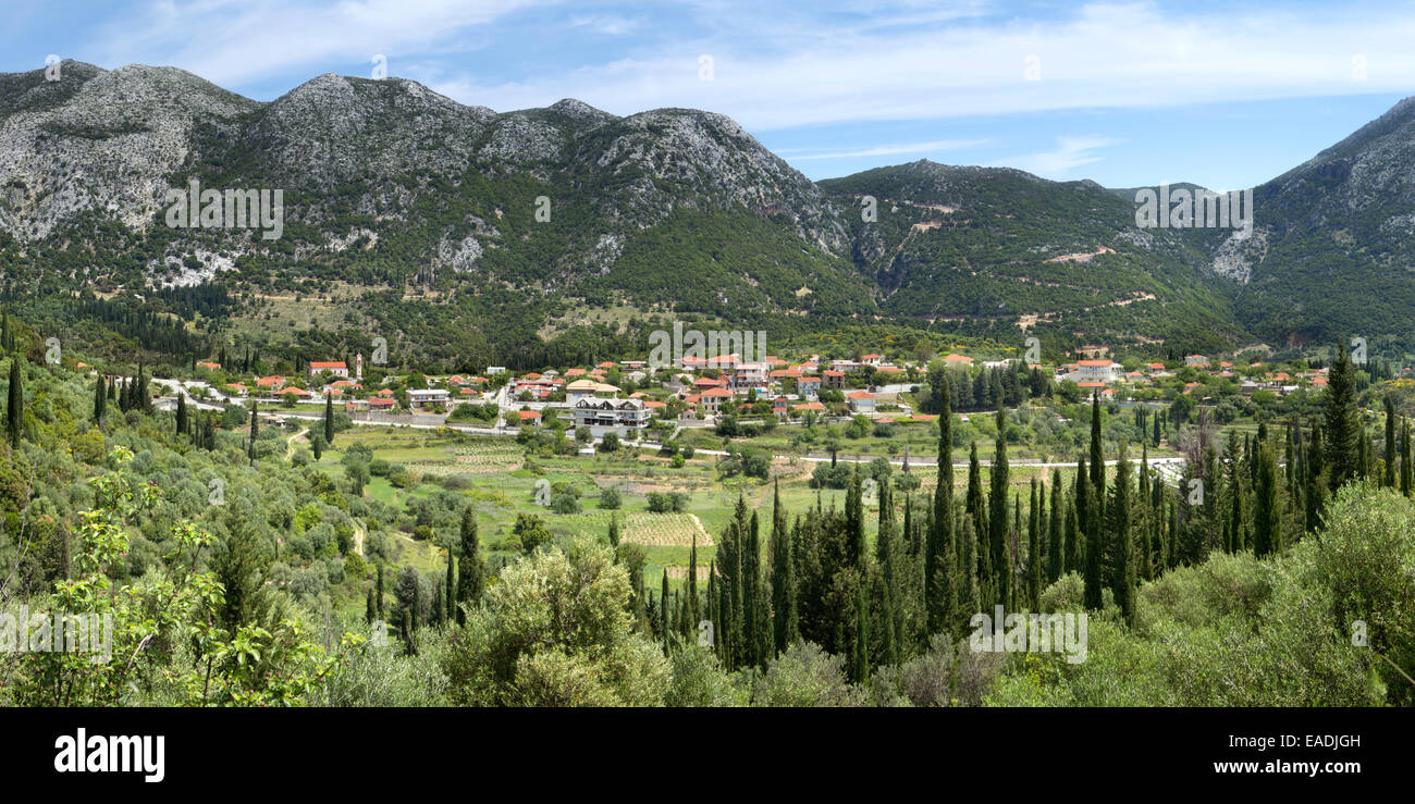 The village of Agios Nikolaos, Kefalonia, taken from the mountain-side. Stock Photo