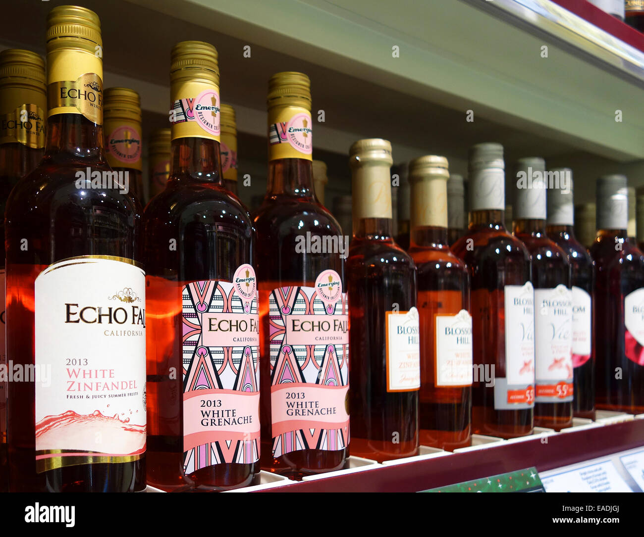 bottles of Californian Rosa wine in a uk supermarket - Stock Image