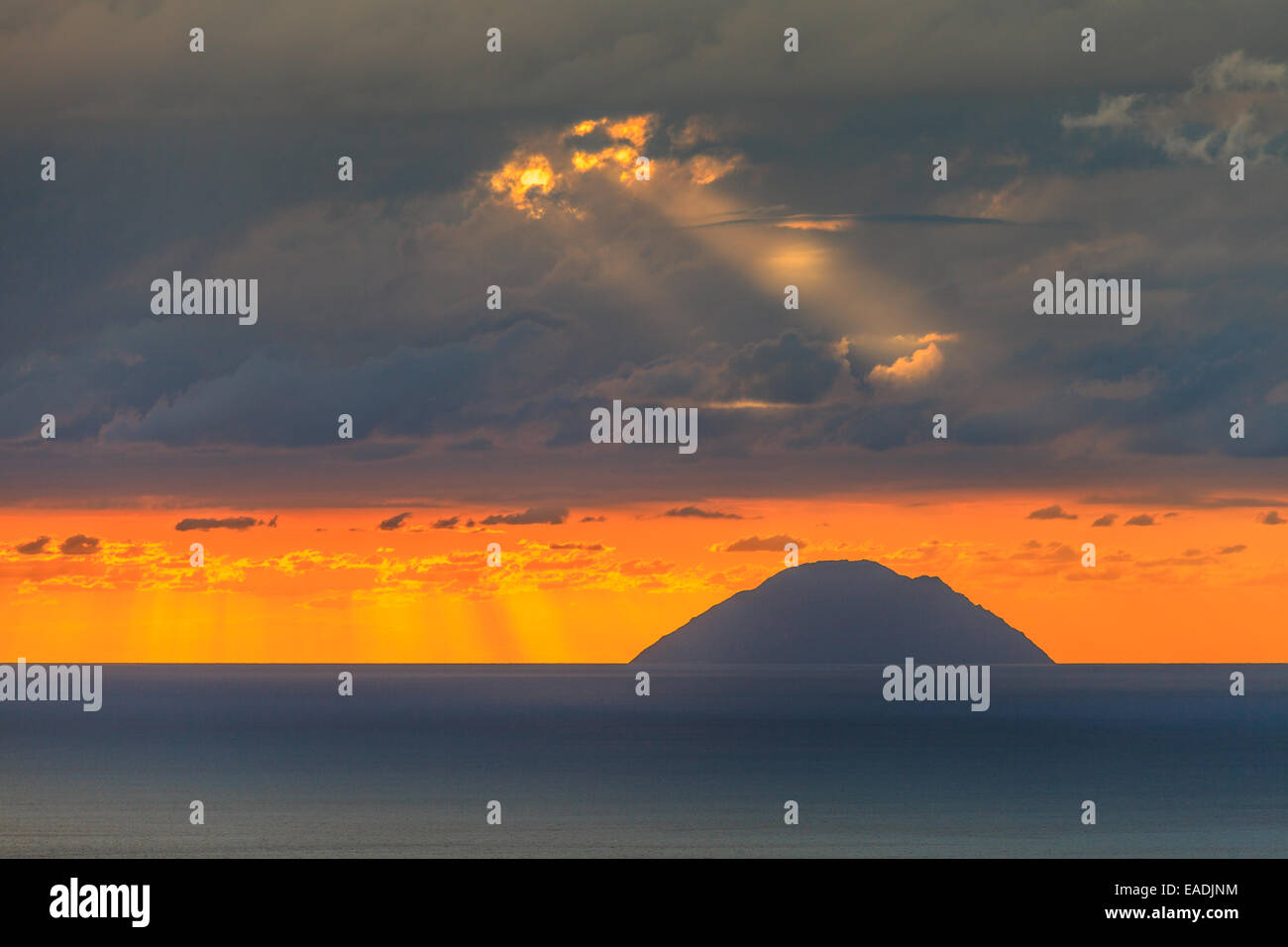 View of Aeolian islands of Alicudi  at sunset Stock Photo