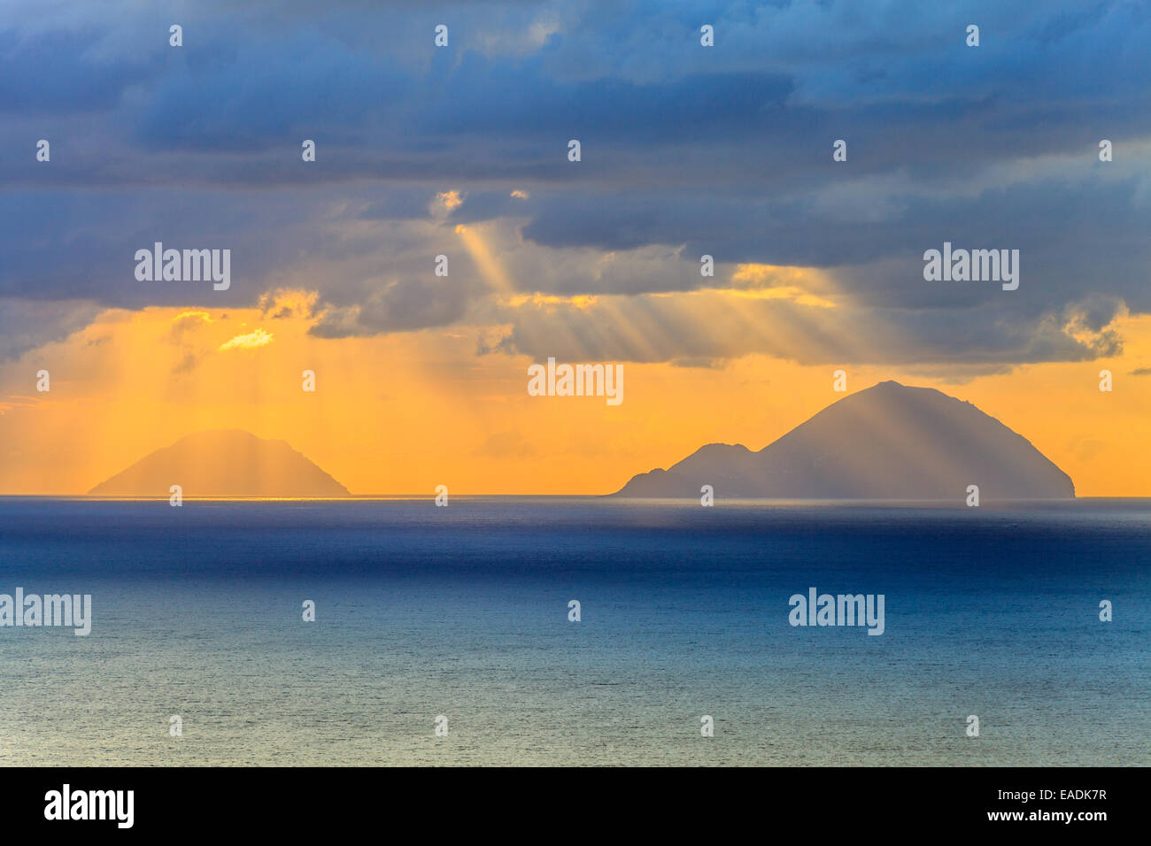 View of Aeolian islands of Filicudi and Alicudi  at sunset Stock Photo