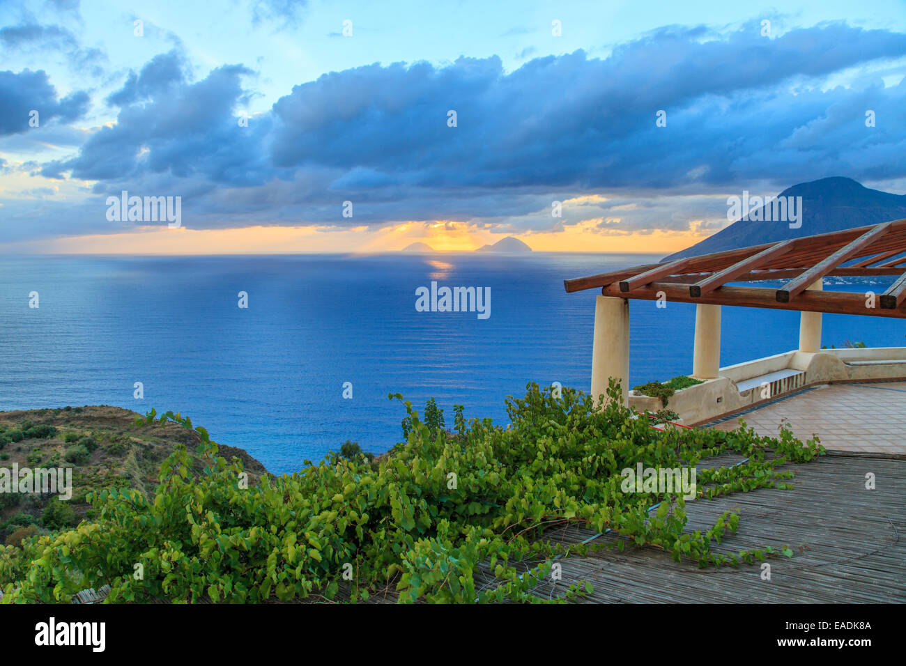 Aeolian house with a beautiful sea view Stock Photo