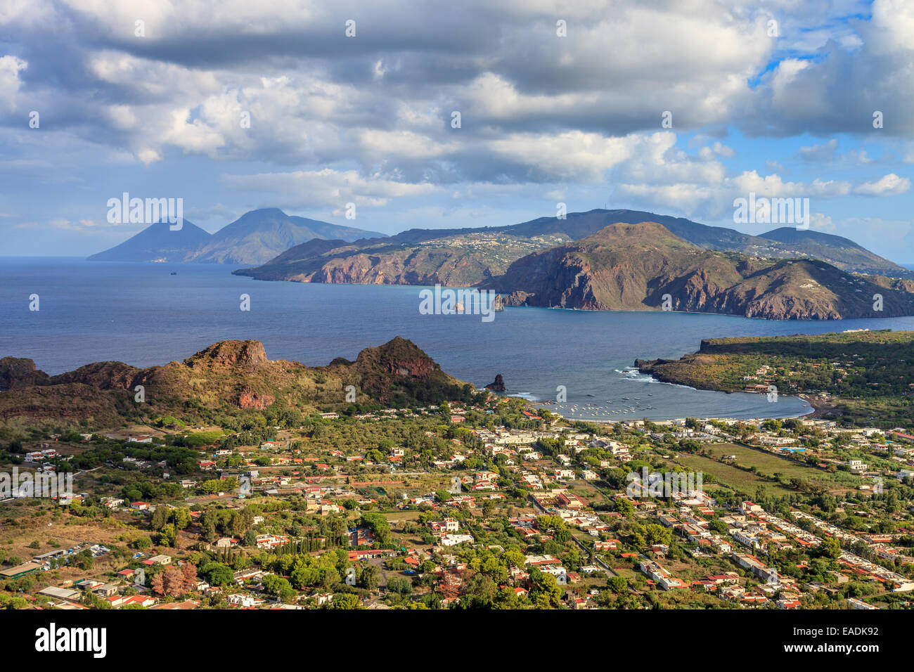 Panoramic view of the Aeolian islands from Vulcano - Stock Image