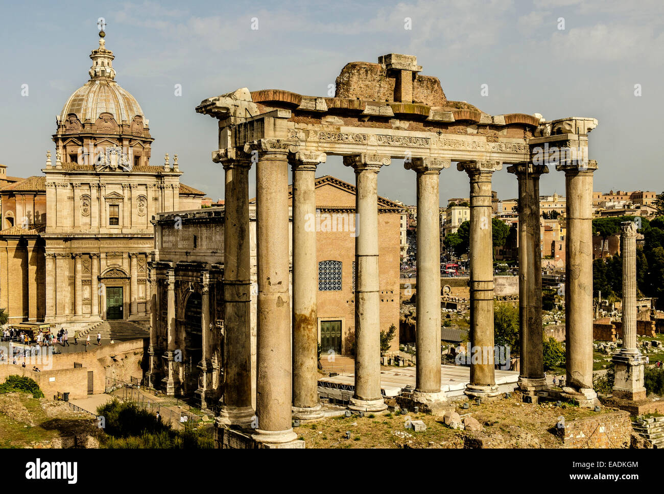 Foro Romano. Classical ruins  mingle with medieval churches in Rome's ancient center. - Stock Image