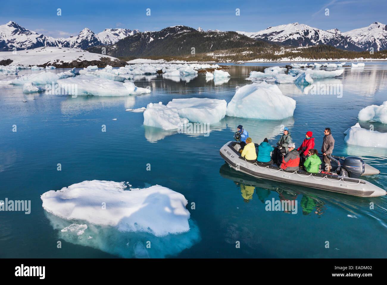 Ice,Dinghy,Iceberg,Tourist,Columbia Glacier - Stock Image
