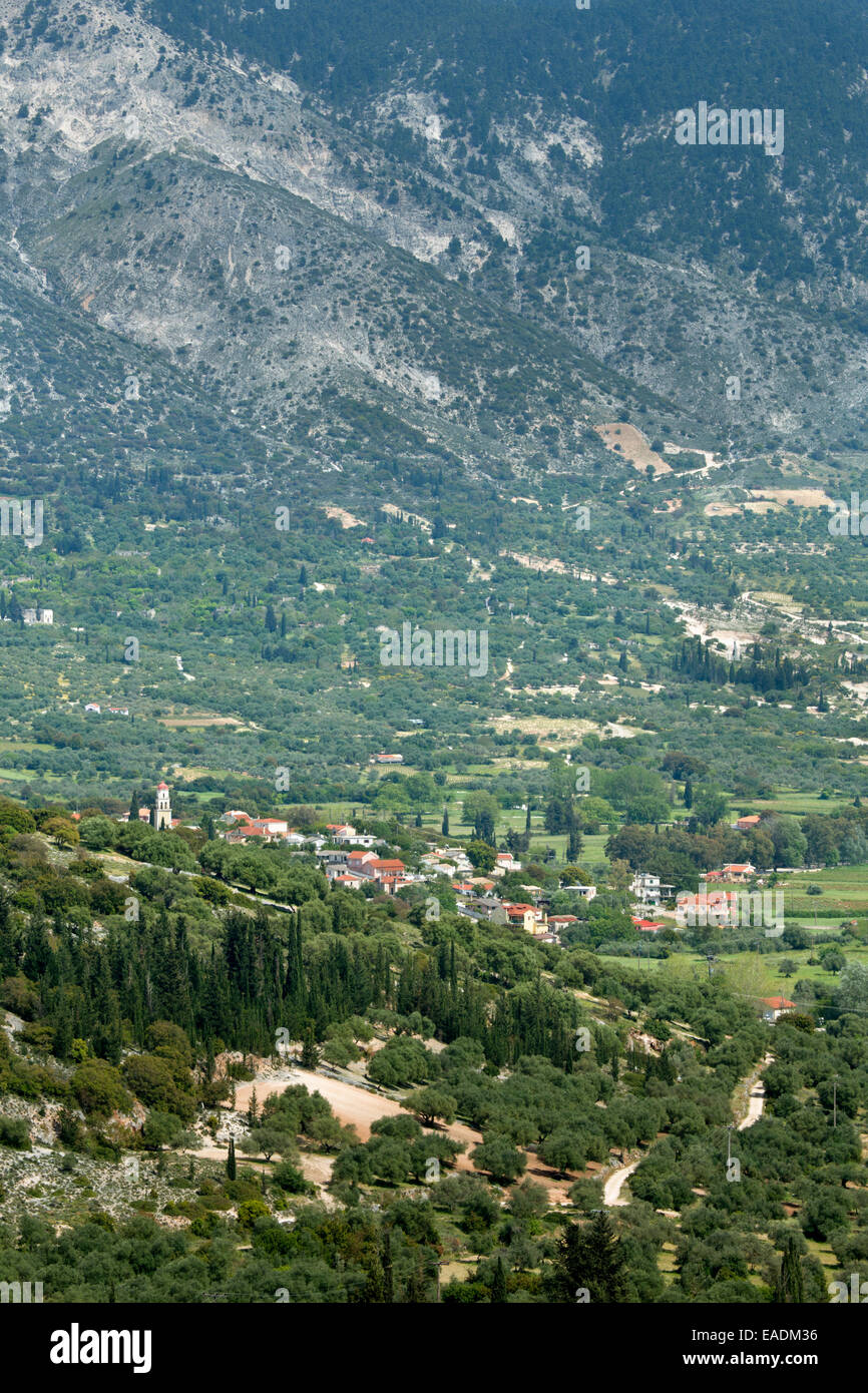 The town of Valsamata, Kefalonia, taken from the mountain-side. Stock Photo