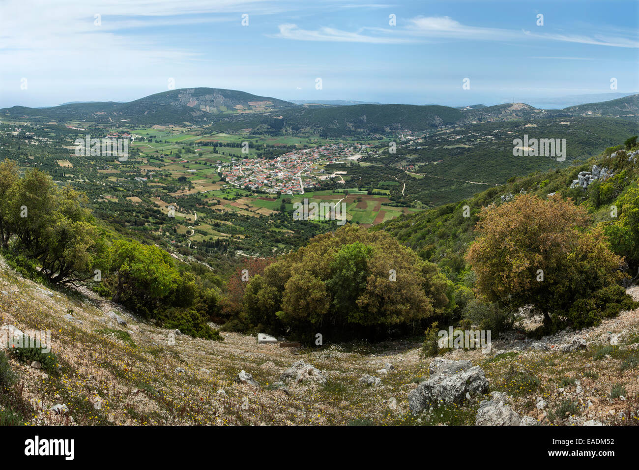 A stunning landscape looking West over Valsamata from Mount Aenos, Kefalonia. Stock Photo