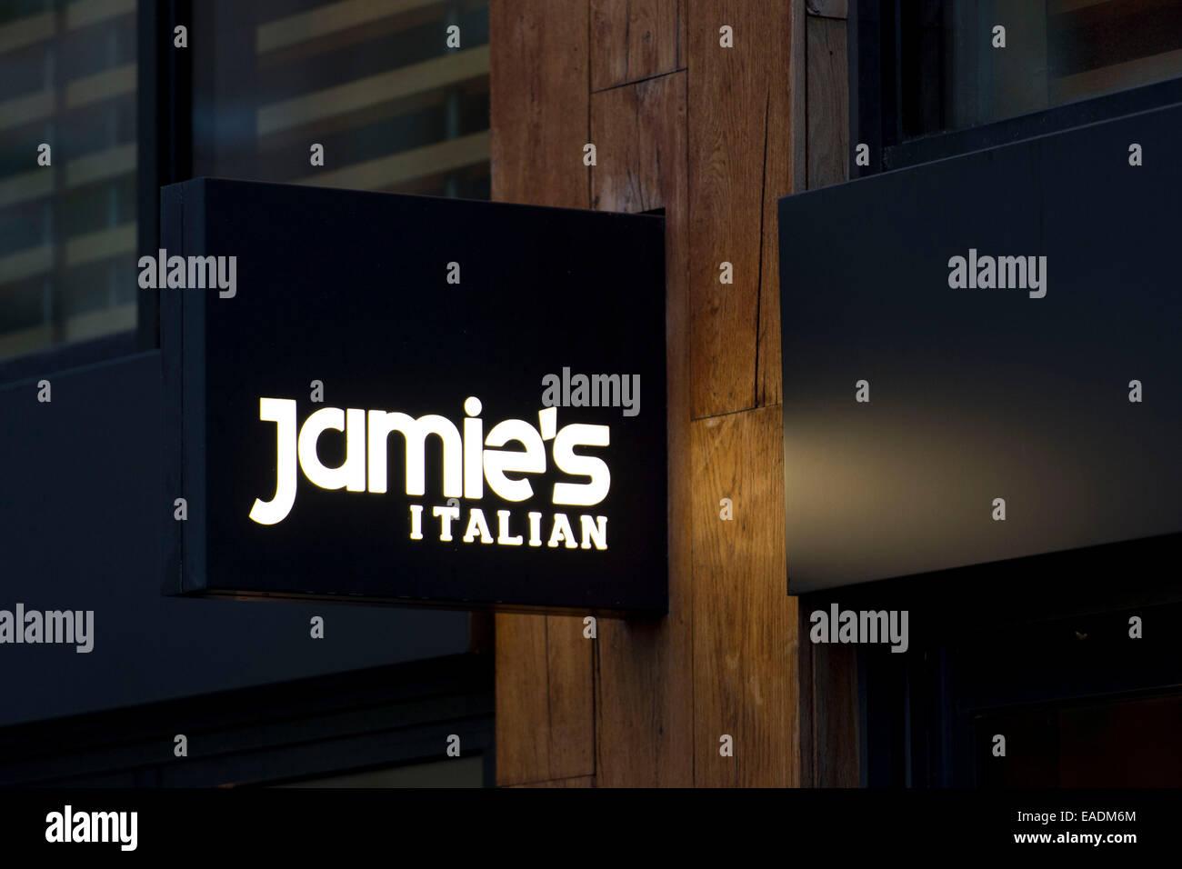 Jamie Oliver's Italian restaurant sign logo. - Stock Image