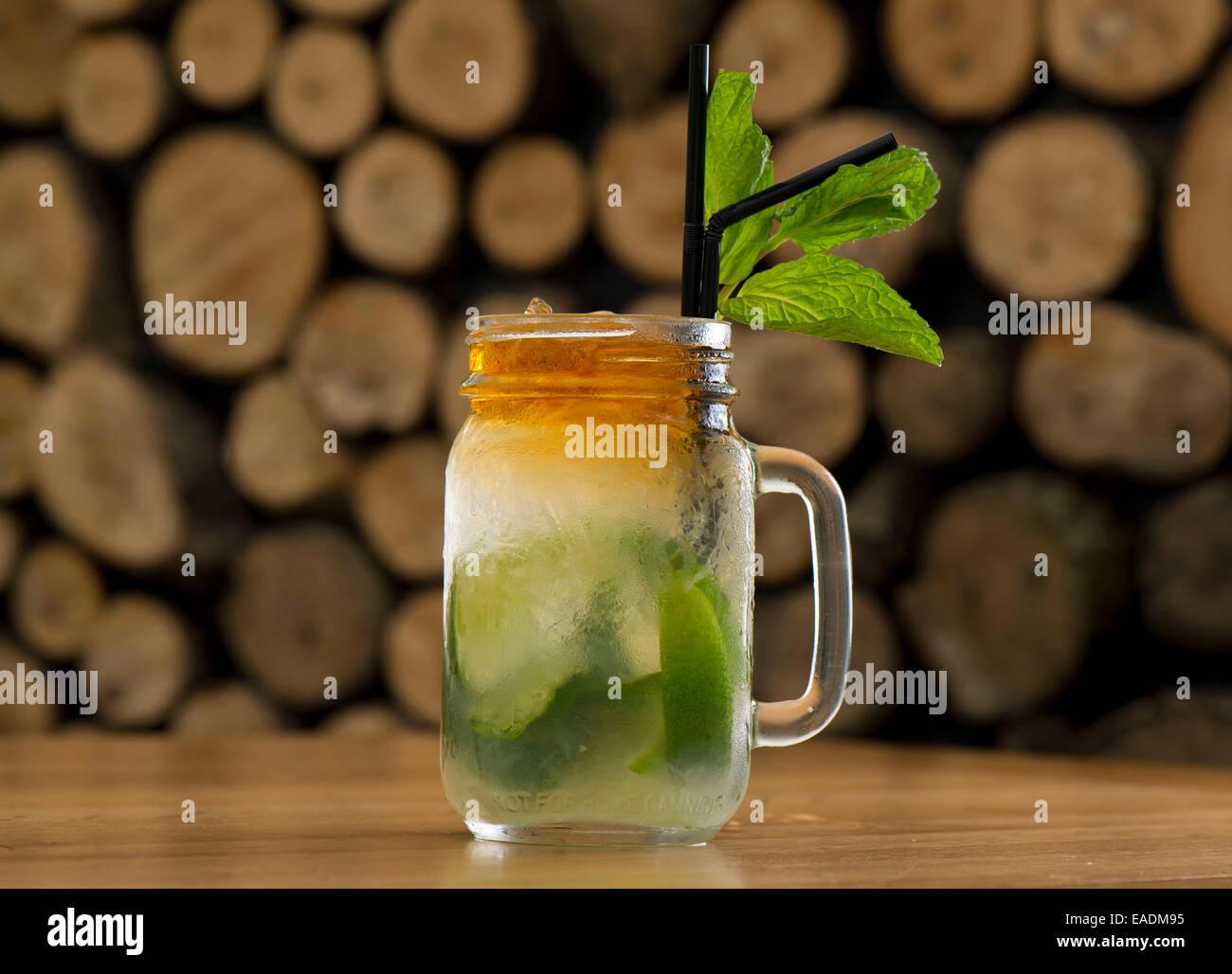 A Mojito cocktail at a bar. - Stock Image